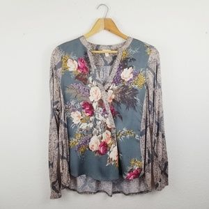 Tiny Anthro Floral Snap Front Long Sleeve Blouse